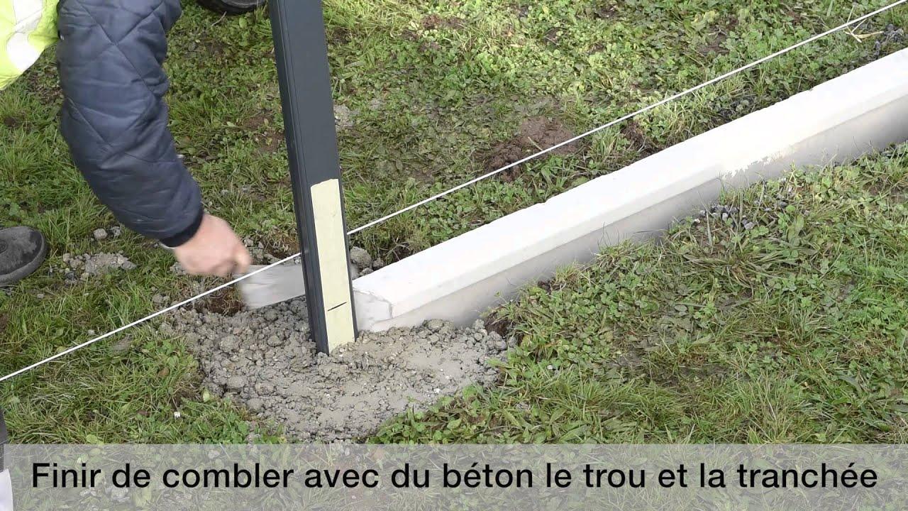 Montage D'Une Clôture Aluclos Avec Un Soubassement encequiconcerne Plaque Soubassement Béton 50 Cm Castorama