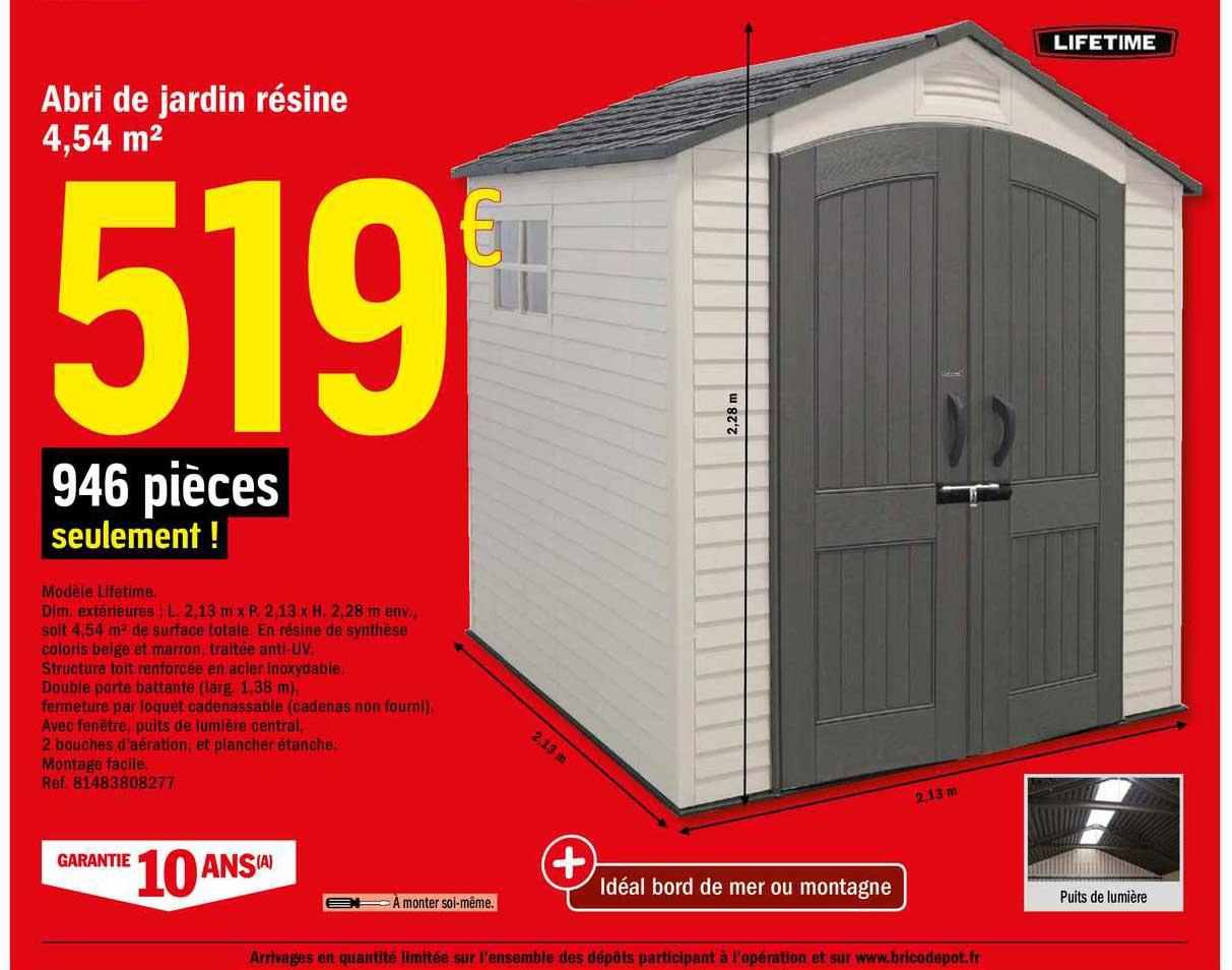 Offre Abri De Jardin En Bois 9 M2 Chez Brico Depot dedans Abri De Jardin Metal 10M2 Brico Depot