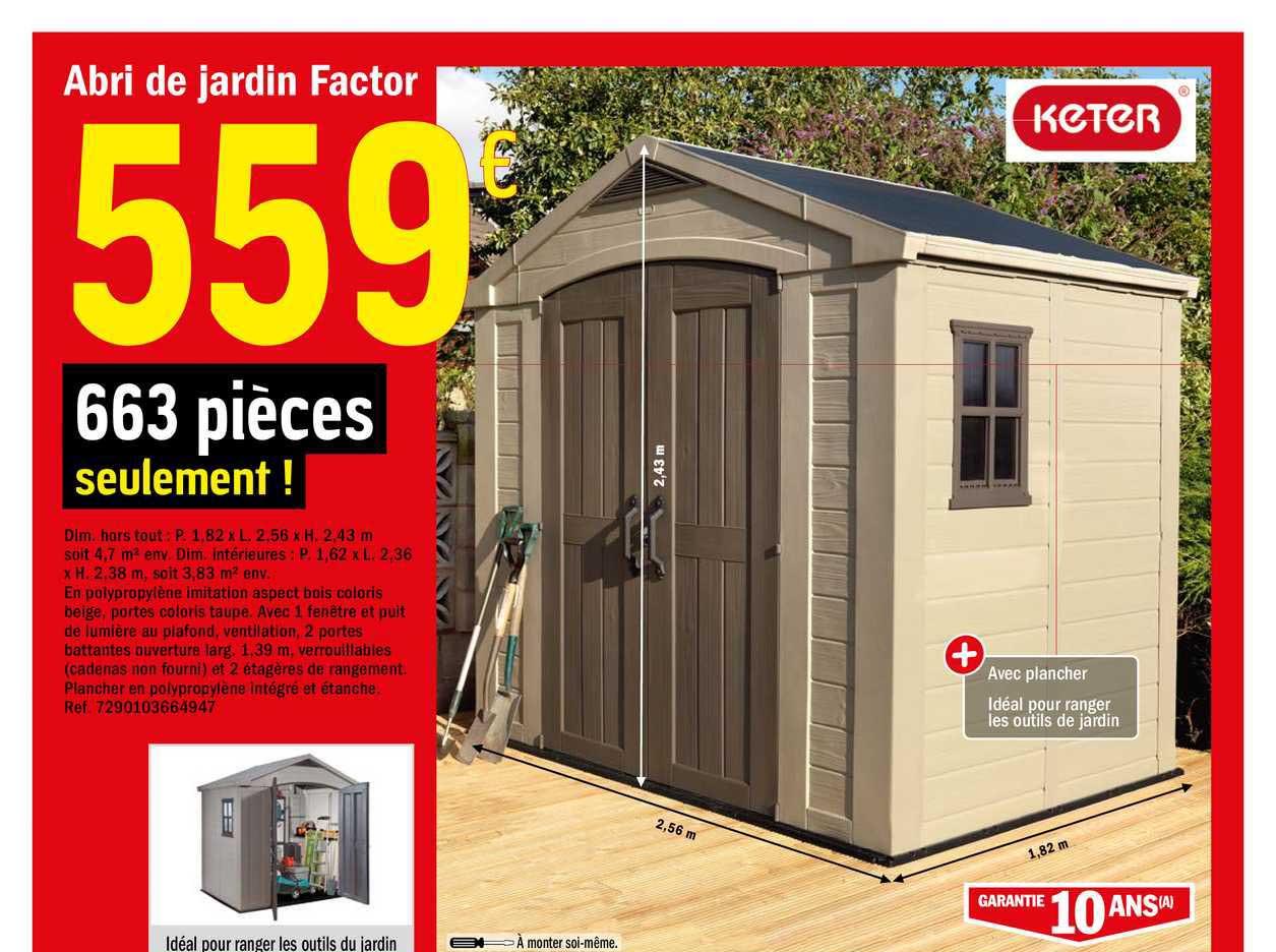 Offre Abri De Jardin Factor Keter Chez Brico Depot avec Abri De Jardin Hyper U