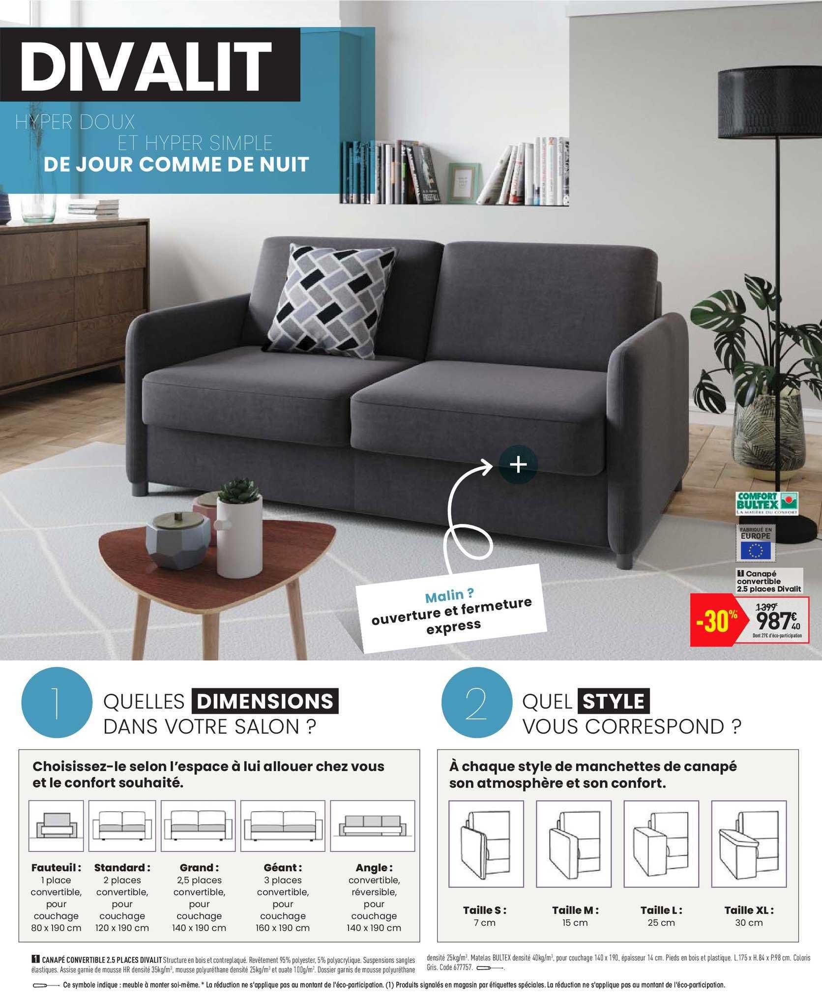 Offre Canapé Convertible 2.5 Places Divalit Chez Conforama avec Canapé Convertible 1 Place Conforama