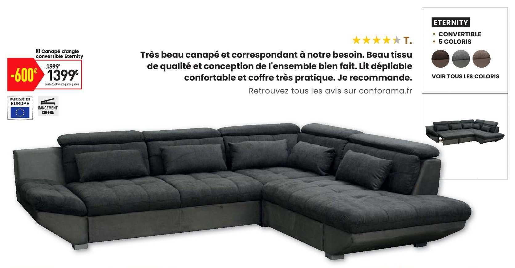 Offre Canapé D'Angle Convertible Eternity Chez Conforama pour Canapé Eternity But