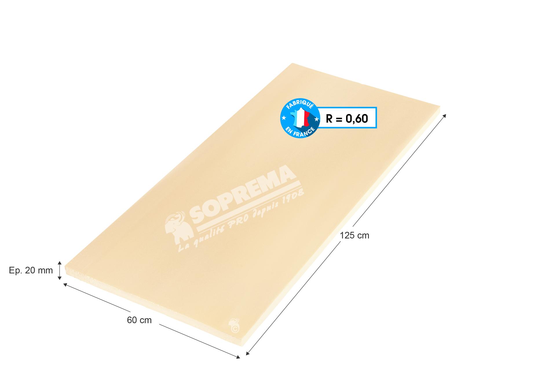 Panneau En Polystyrène Extrudé Xps Soprema, 1.25X0.6M, Ep.20Mm, R=0.60 tout Bille Polystyrène Isolation Leroy Merlin