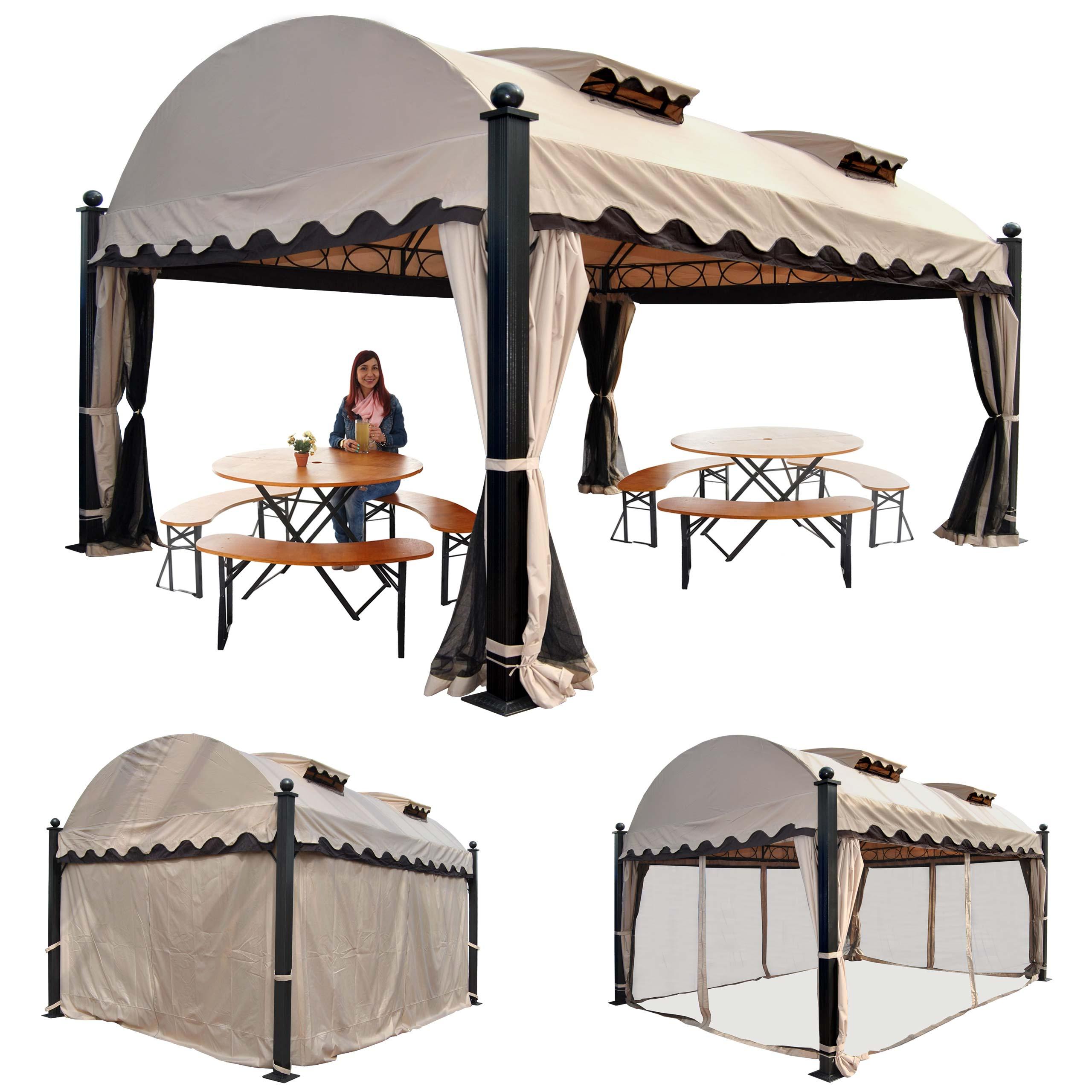 Pergola Daroca, Garten Pavillon, 10Cm Luxus-Alu-Gestell Mit Seitenwand +  Moskitonetz 4,5X3,5M intérieur Pergola 5X3