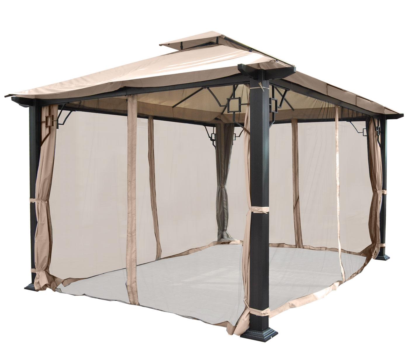 Pergola Mira, Garten Pavillon, 12Cm Luxus-Alu-Gestell 3,5X3 ... pour Pergola 5X3