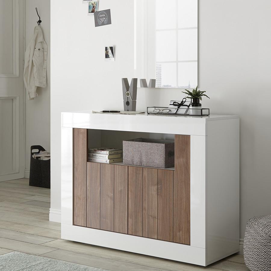 Petit Meuble D'Entrée Marron Et Blanc Moderne 110 Cm, 2 Portes Urban 4 intérieur Meuble D'Entrée Design Italien