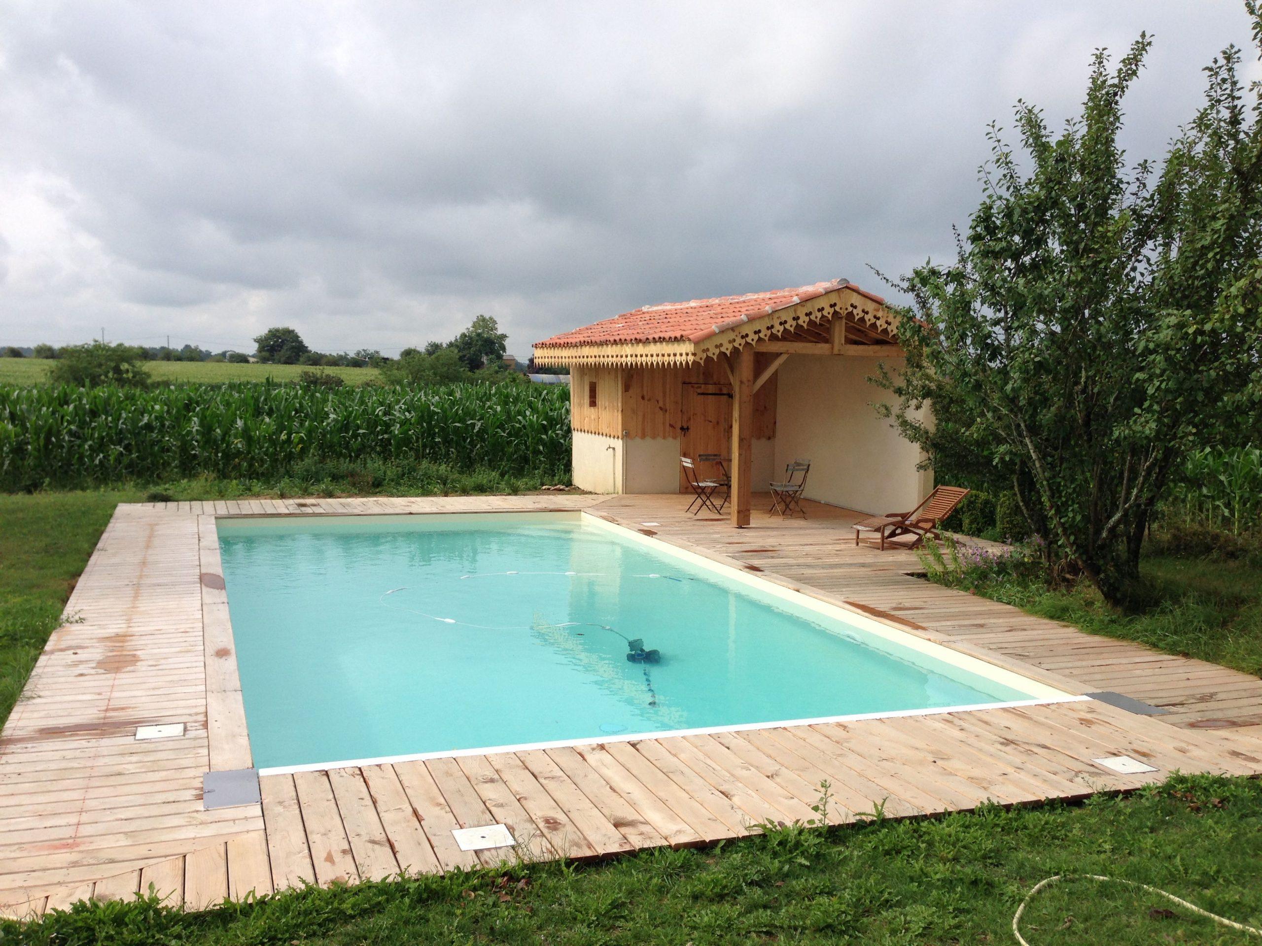 Piscine 10X5 Liner Couleur Sable Pool House Champêtre Style ... encequiconcerne Piscine 10X5