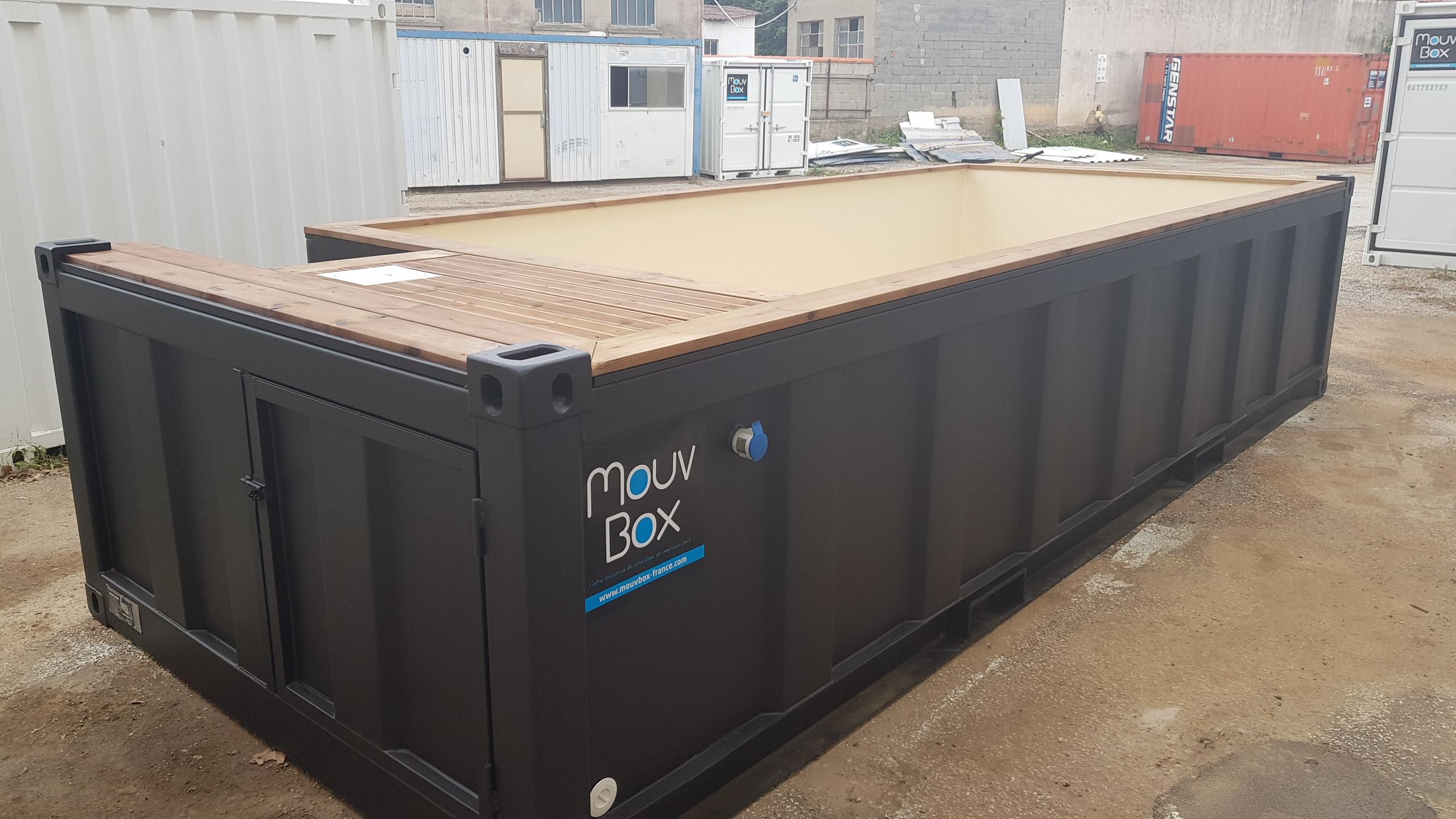 Piscine Box 20′ (6M X 2.40M) dedans Piscine Container France