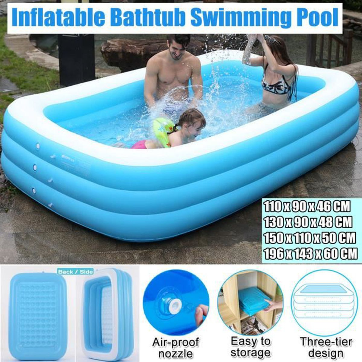 Piscine Gonflable Grande 2 Couches Solide Bulle Pour ... serapportantà Cdiscount Piscine Gonflable