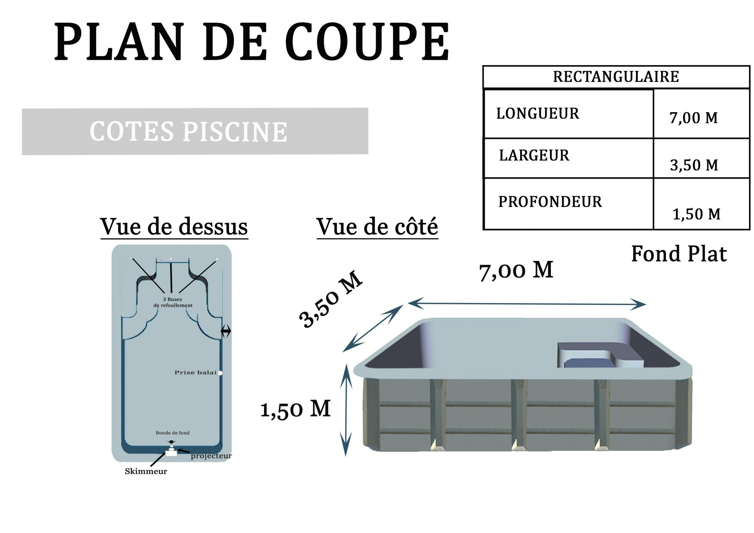 Piscine Polyester Okea Rectangulaire 7M X 3.50M intérieur Plan De Coupe Piscine