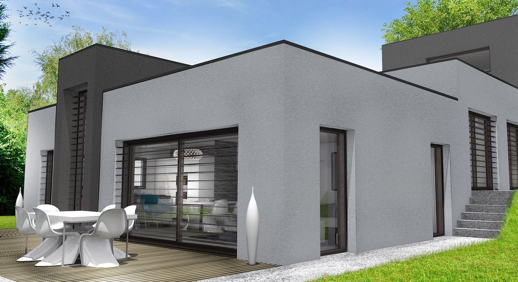 Plan Maison Terrain En Pente Design De Cubique Contemporaine ... destiné Maisons Design En Pente