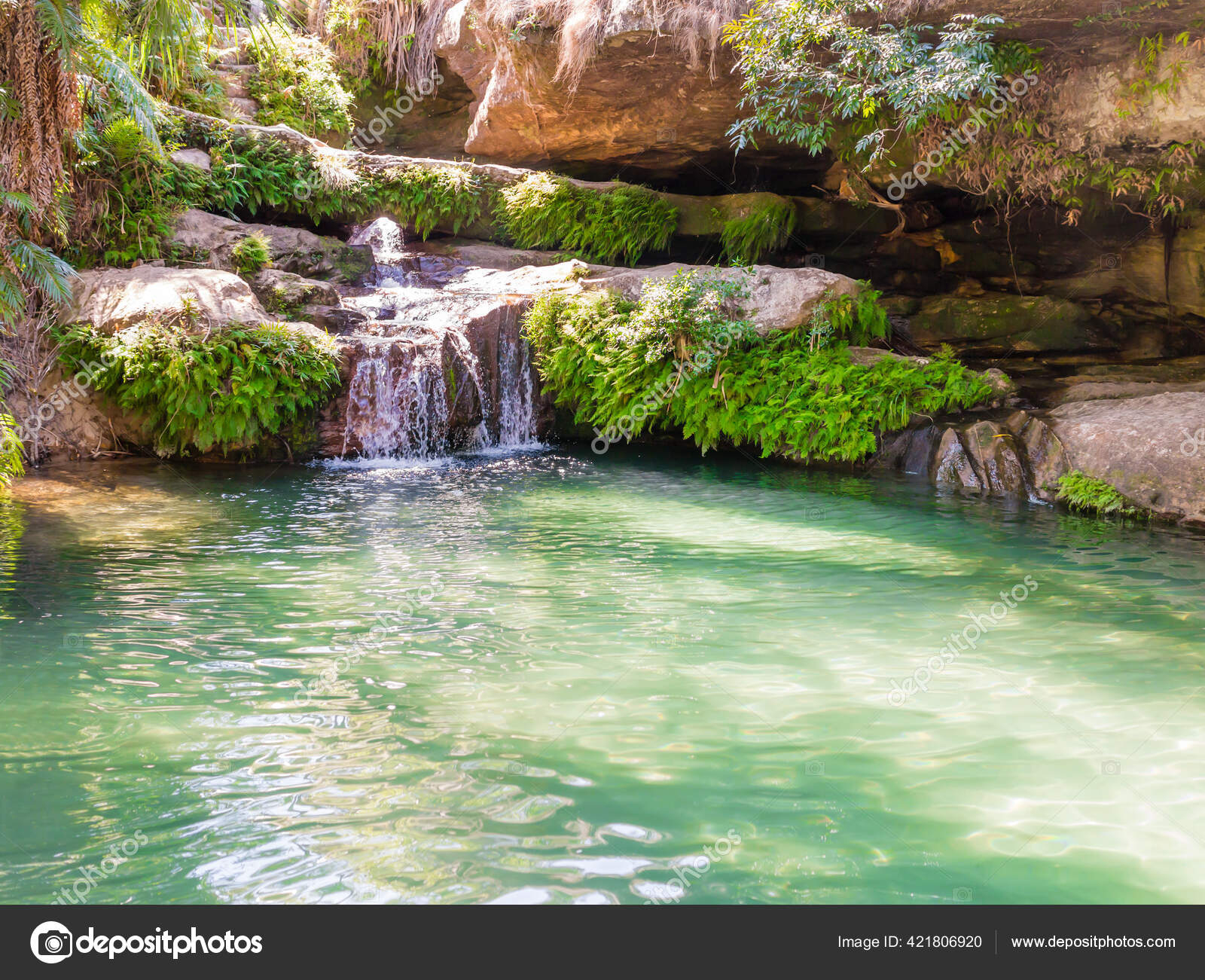 """Stunning Oasis Called """"La Piscine Naturelle"""", A Palm-Fringed Pool  Constantly Fed By A Crystalline Waterfall, Isalo National Park, Madagascar  421806920 concernant Piscine O'Bya"""