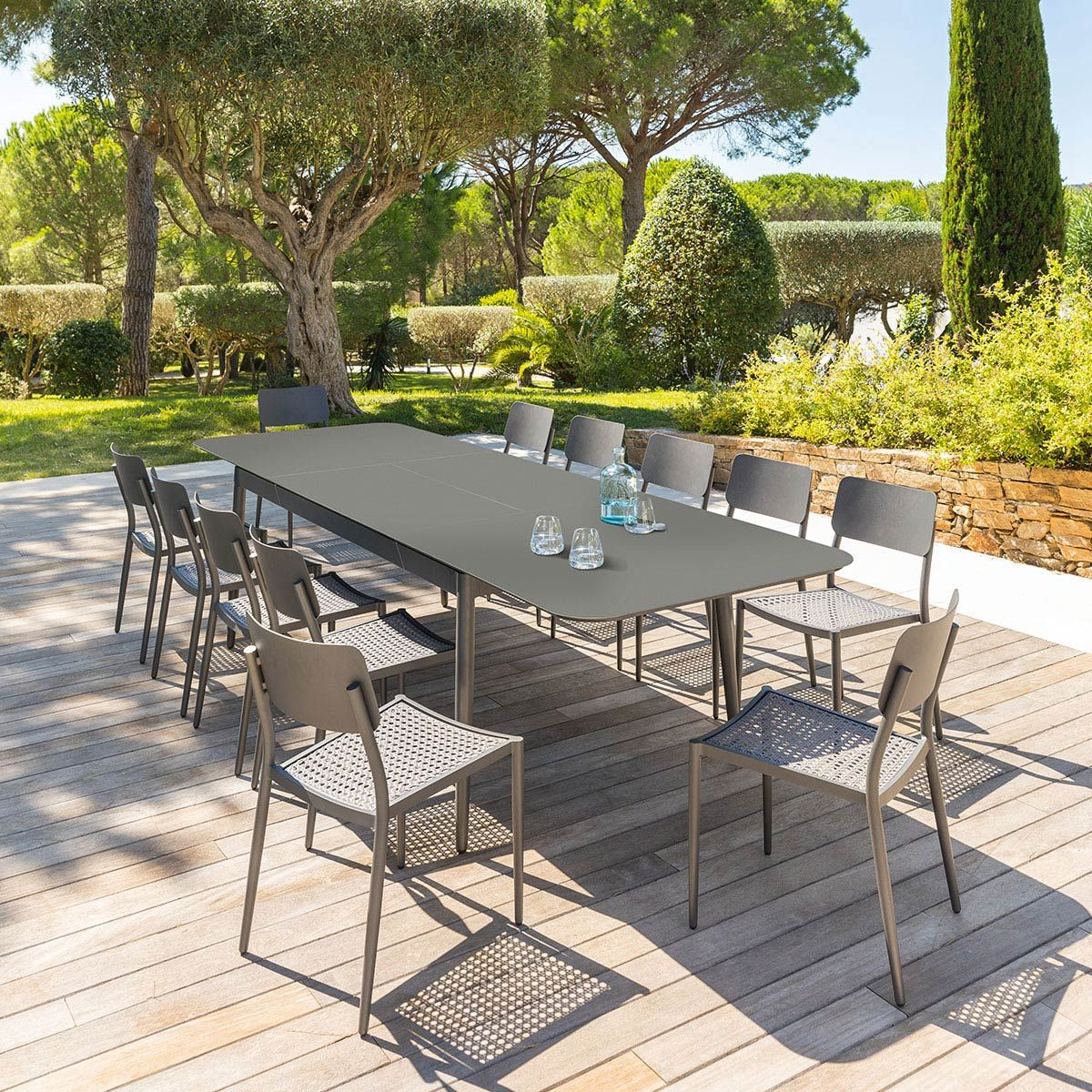 Table De Jardin Extensible Iceland Graphite 12 Places ... tout Table De Jardin 12 Personnes Design