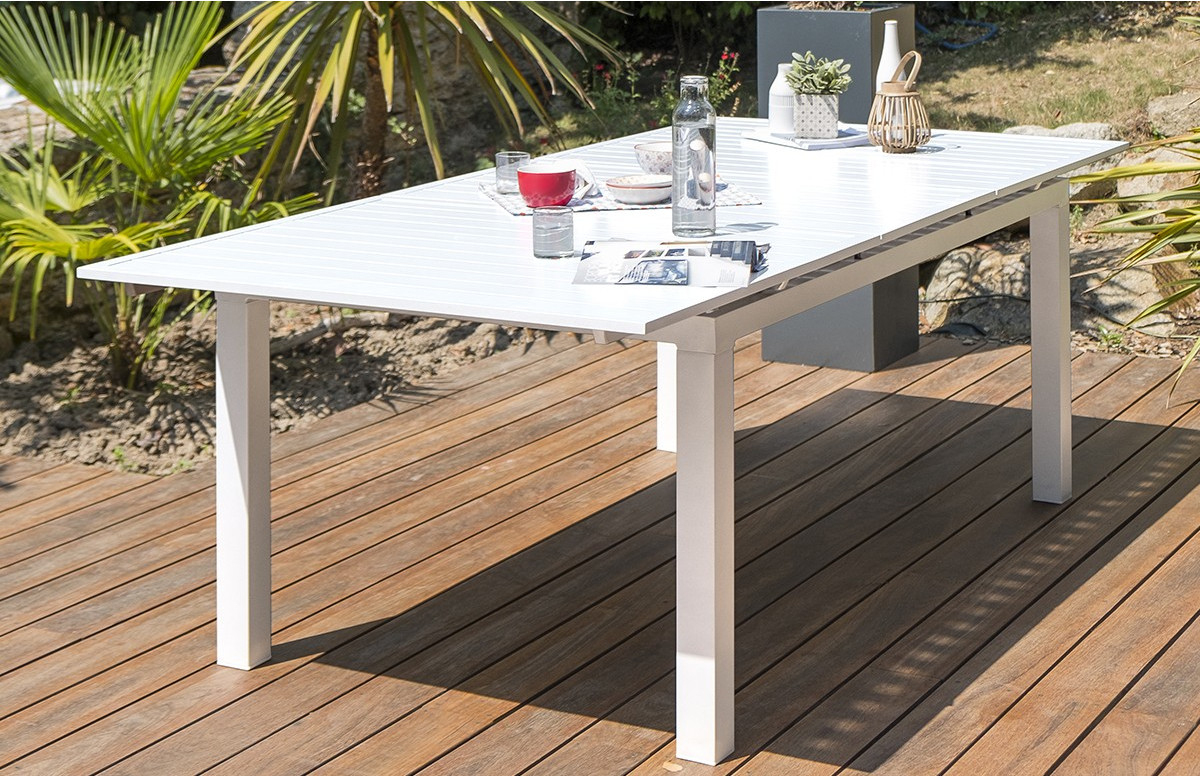Table Salon De Jardin Extensible En Aluminium Pour 8 Personnes Dcb Garden  Mykonos destiné Table De Jardin 12 Personnes Design