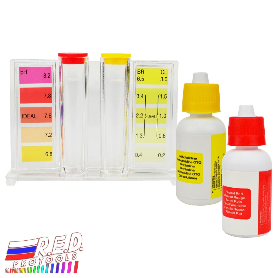 Testeur De Ph D'Eau Kit De Test De Qualité Pour Piscine Cl2 Hydrooutils De  Chlore Orthotolidine Phénol Solutions Rouges encequiconcerne Test Piscine