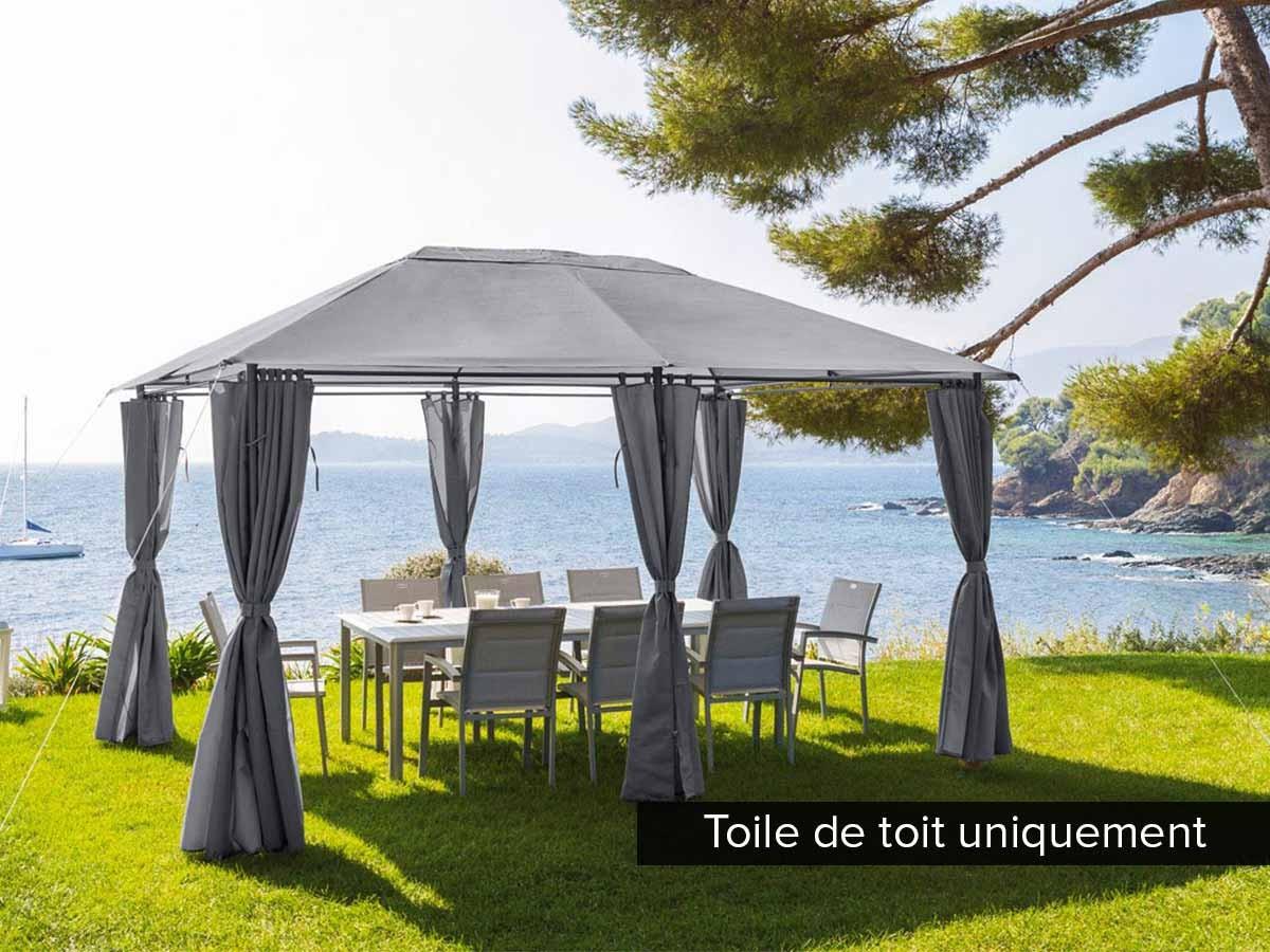Toile De Toit Pour La Tonnelle Santorini 3 X 4 M - tout Toile De Toit De Rechange Pour Tonnelle Ronde