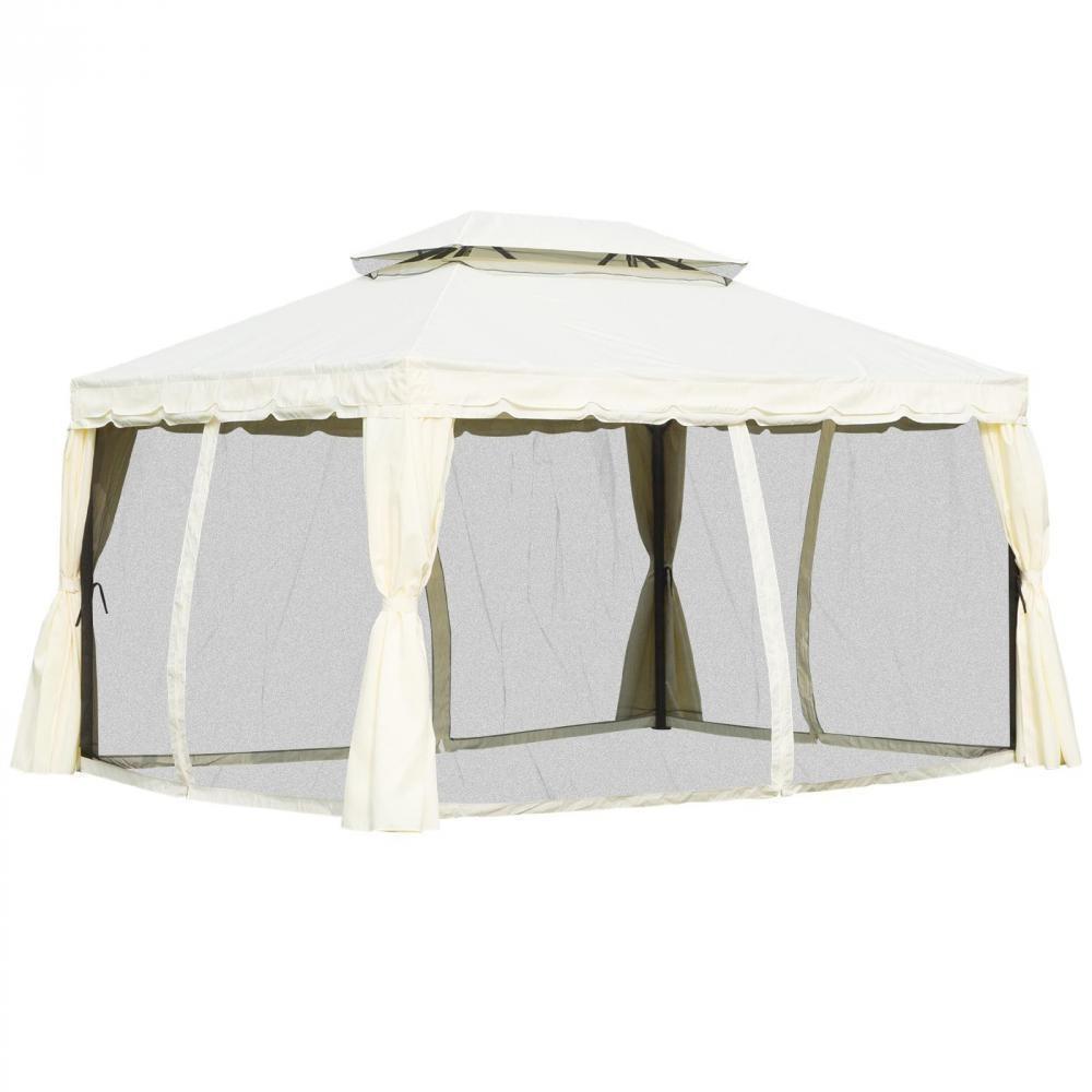 Tonnelle Barnum Pavillon De Jardin Style Colonial Double Toit Toile  Moustiquaires Et Toiles Amovibles 3,9L X 2,9L X 2,8H M Écru avec Tonnelle Gifi