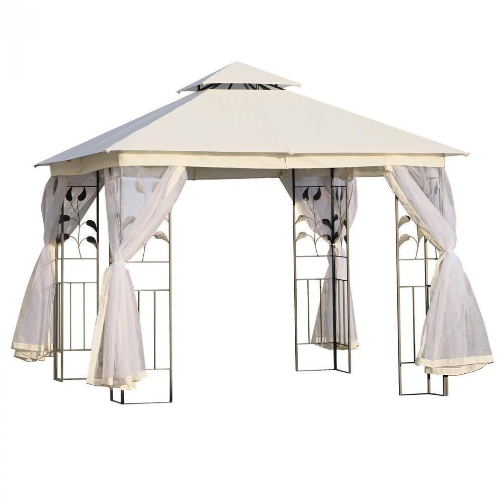 Tonnelle Barnum Style Colonial Double Toit Toiles Moustiquaires Amovibles  3L X 3L X 2,65H M Beige serapportantà Tonnelle Gifi