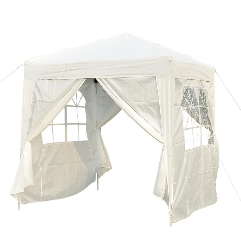 Tonnelle Barnum Tente De Réception Pliante 2 X 2 X 2,55 M Blanc Avec  Fenêtres + Sac De Transport à Tonnelle Gifi