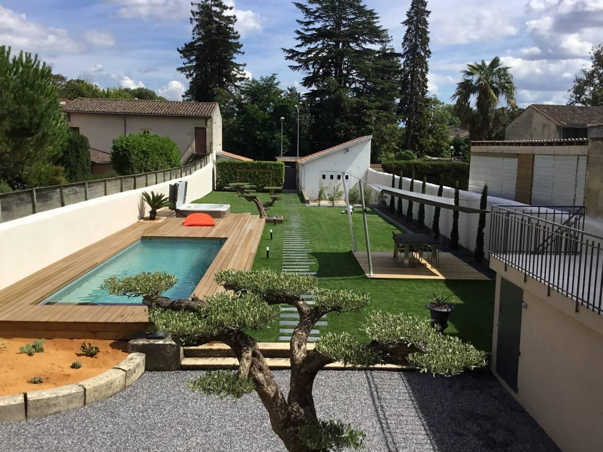 Vente Et Installation De Terrasse Bois De Pin Tresses - Ab ... à Conception Jardin Piscine Bordeaux