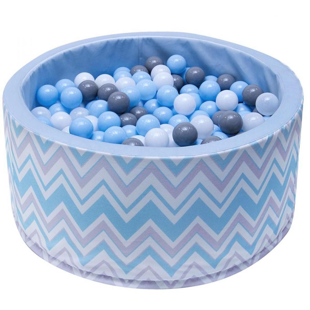 Welox Piscine 200 Balles Ø 90 Cm Pour Bébé Bleu Avec Zigzag encequiconcerne Gifi Piscine Bebe
