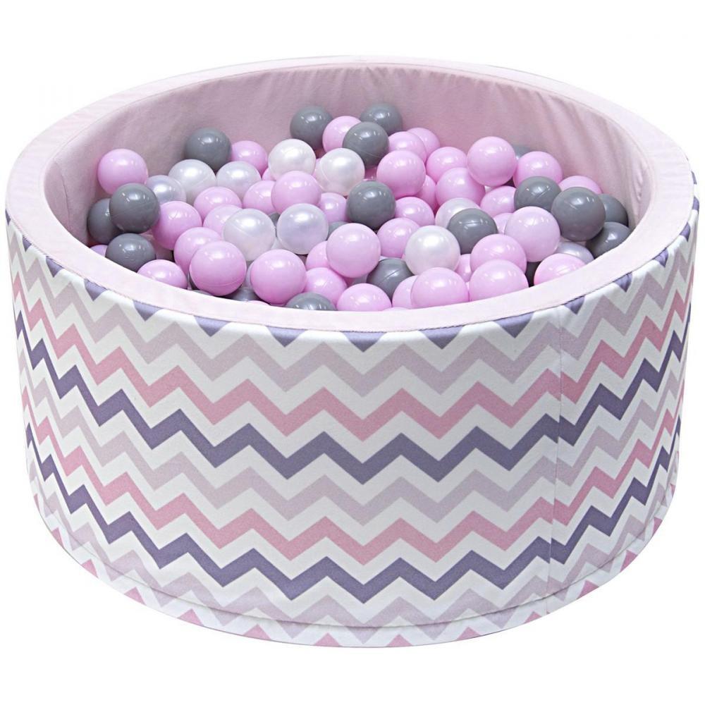 Welox Piscine 200 Balles Ø 90 Cm Pour Bébé Rose Avec Zigzag concernant Gifi Piscine Bebe