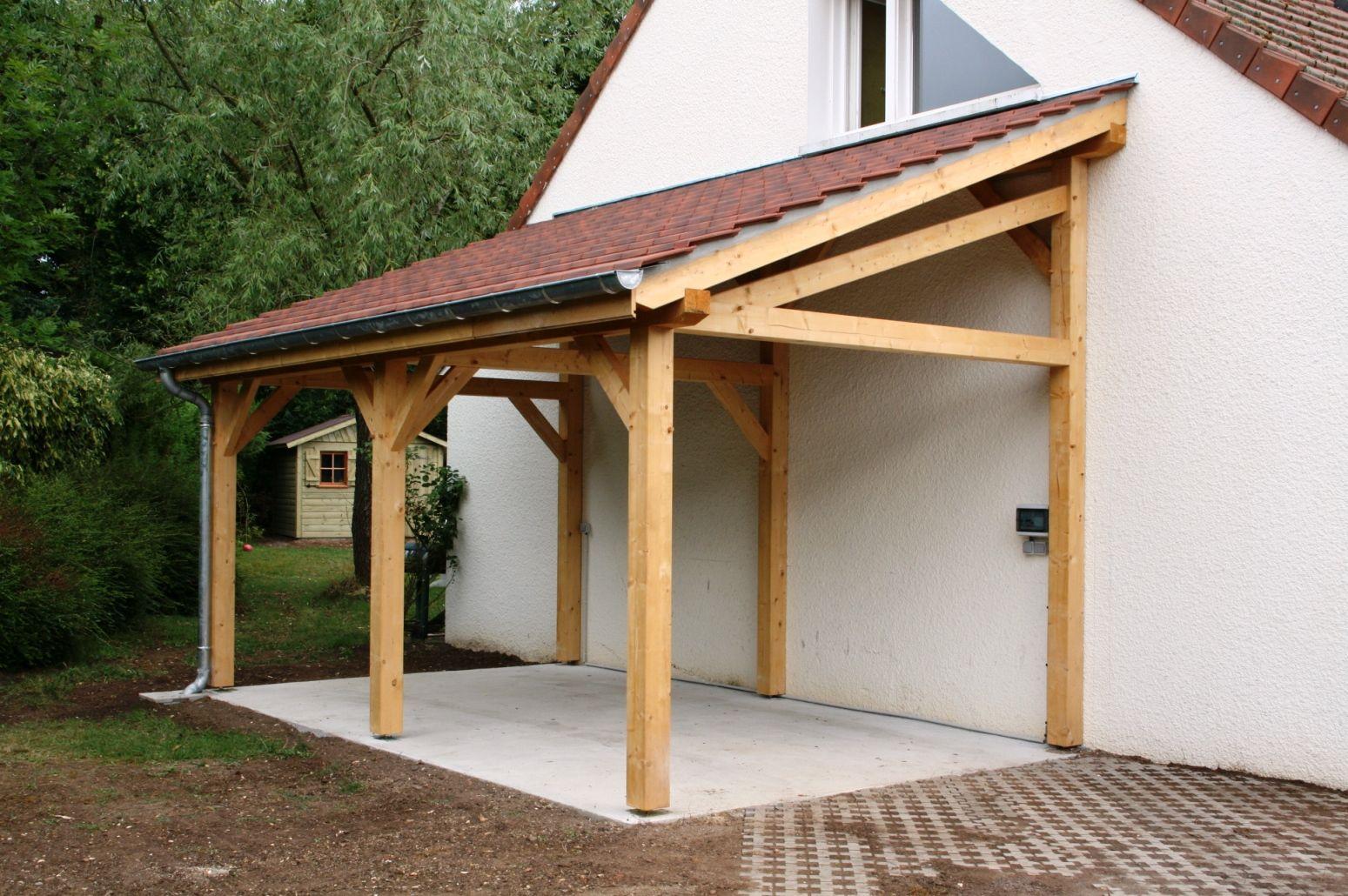 Wood Profits - Garage 1 Pente 2.70Mx7.00M - Cerisier : Abris ... serapportantà Plan Abris Moto Bois
