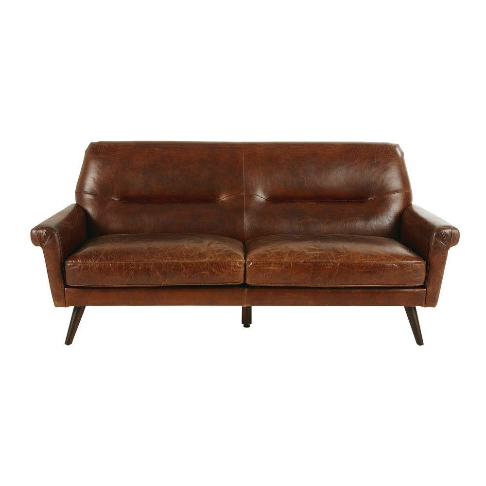 3-Sitzer-Vintage-Sofa, Brauner Lederbezug | Canapé Vintage ... intérieur Sofa Dreams France