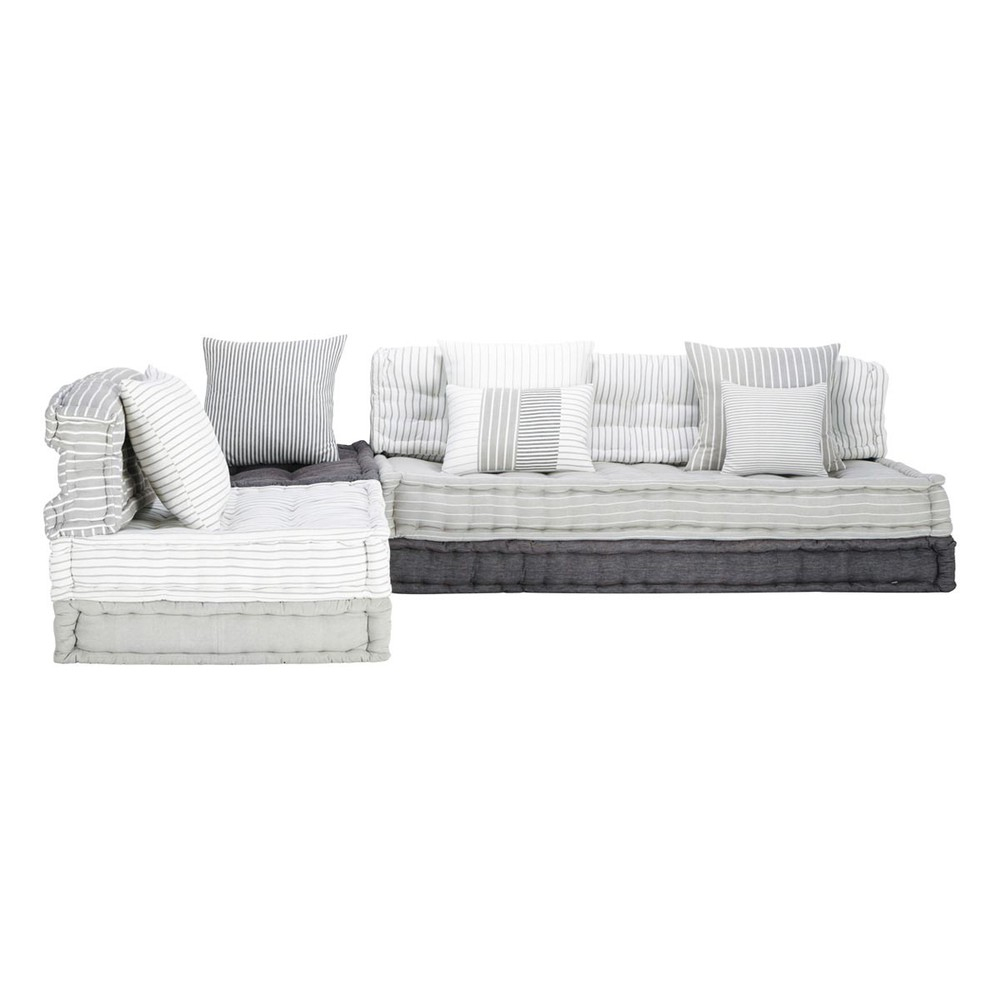 6 Seater Cotton Modular Corner Day Bed In Grey And White ... dedans Canape Au Sol