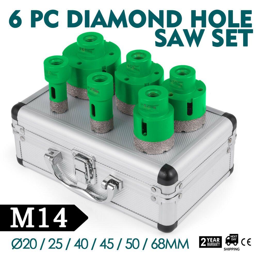 6Pc Scie Cloche Diamantée 20-68Mm Trépan M14 Perçage À Sec ... pour Scie Cloche Carrelage Bricoman