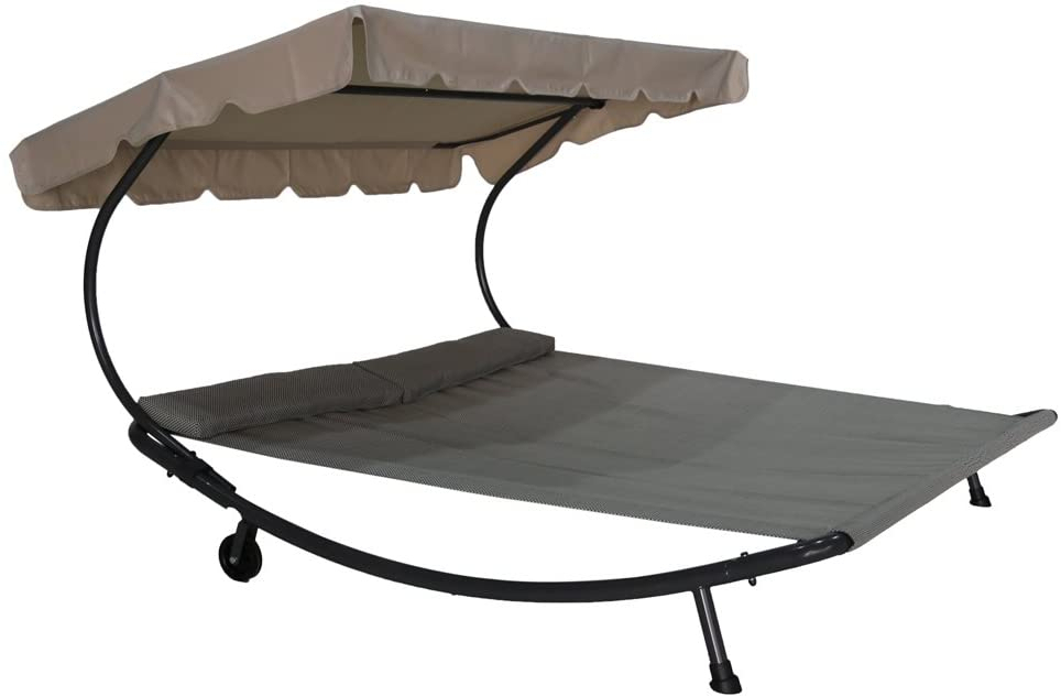 Abba Patio Outdoor Portable Double Chaise Lounge Hammock ... dedans Chaise Oceania But