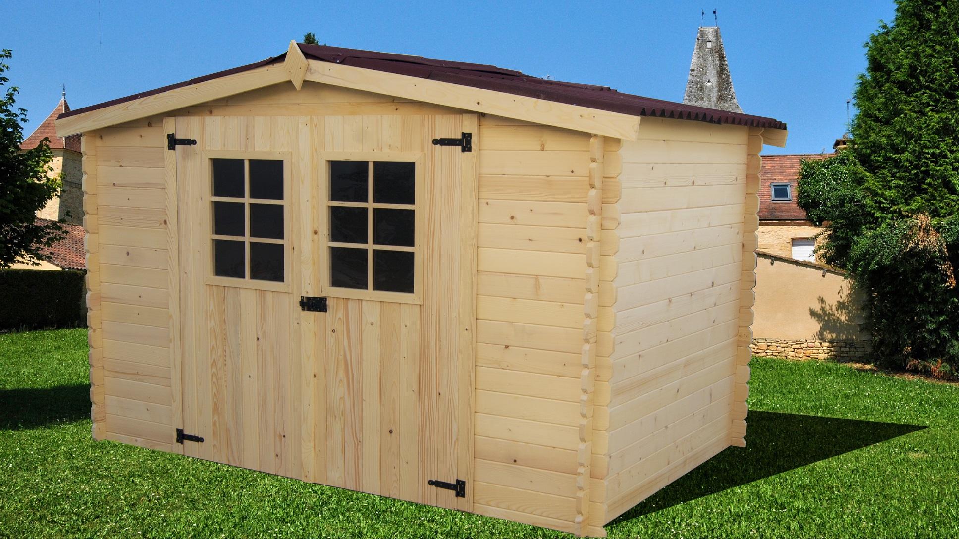 Abri De Jardin Bois Toit Plat Atelier 12,46 M² Ep. 28 Mm ... intérieur Abri De Jardin 4X3M En Bois Douglas Ontario