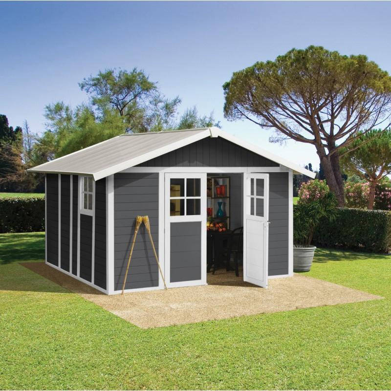 Abri De Jardin En Pvc 11,2M² Deco Gris Foncé Et Blanc ... concernant Abri De Jardin Initia