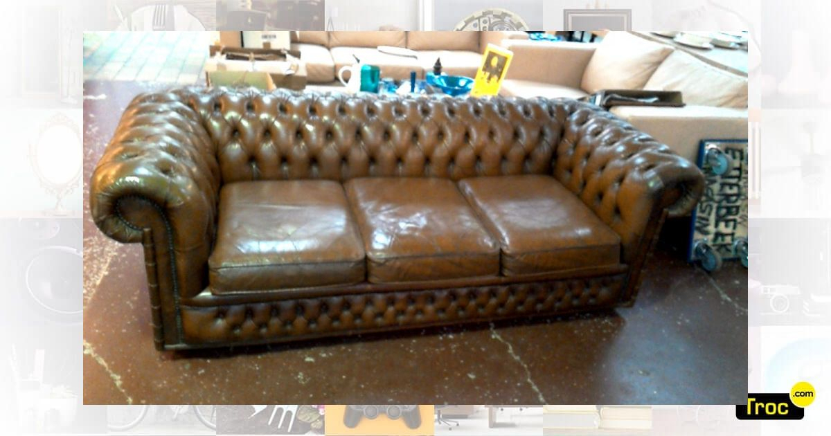 Achat Canape Chesterfield Brun 3 Places Occasion ... pour Canapé Chesterfield Occasion