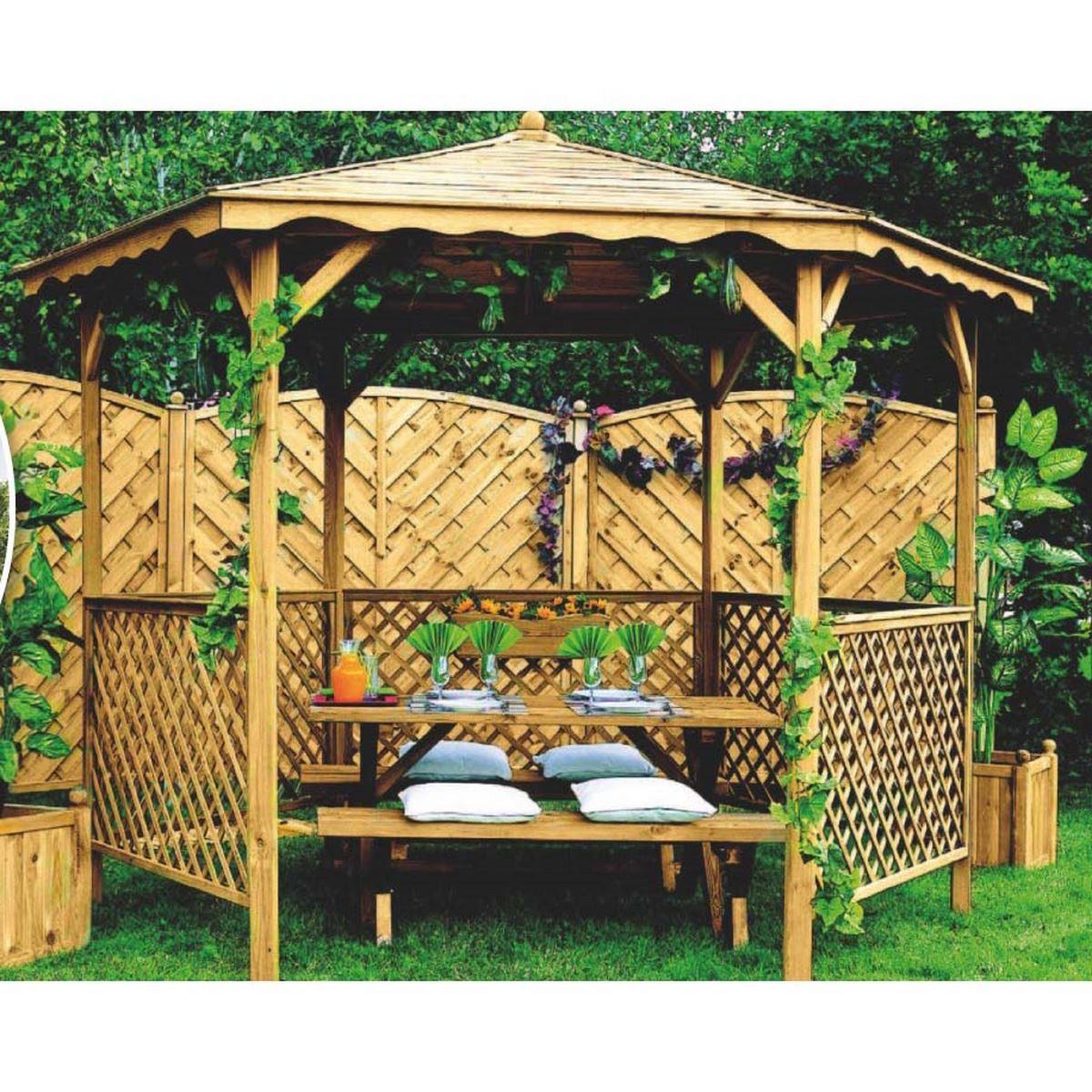 Acheter Un Kiosque En Bois Lora - Jardipolys dedans Kiosque En Bois Occasion