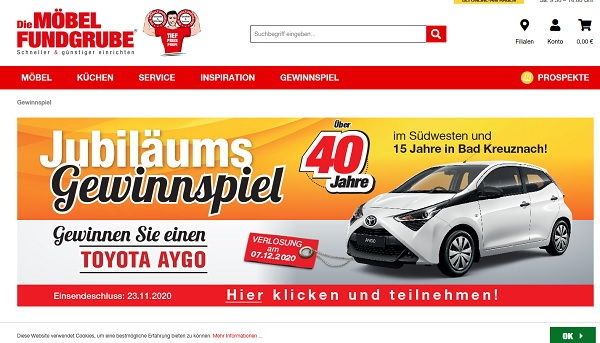 Autogewinnspiel Möbel Fundgrube Verlost Toyota Aygo ... dedans Möbel Fundgrube Prospekt