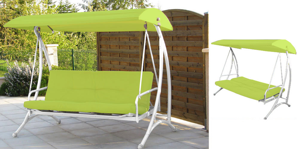 Balancelle Lit Capucine Vert Anis - Oogarden serapportantà Balancelle Lit Jardin Carrefour