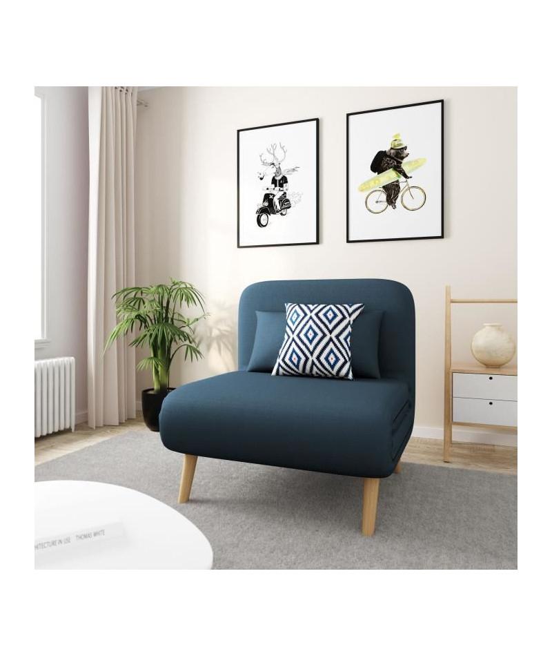 Bedz Banquette Bz 1 Place - Tissu Bleu Pétrole - Style ... serapportantà Bz 1 Place But