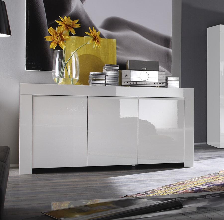 Buffet Bahut Blanc Laqué 3 Ou 4 Portes Design Pietra tout Buffet Design Italien