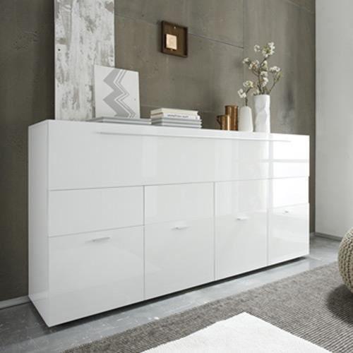Buffet Blanc Laqué Design 4 Portes 1 Tiroir Lina Blanc Pas ... avec Buffet Design Italien