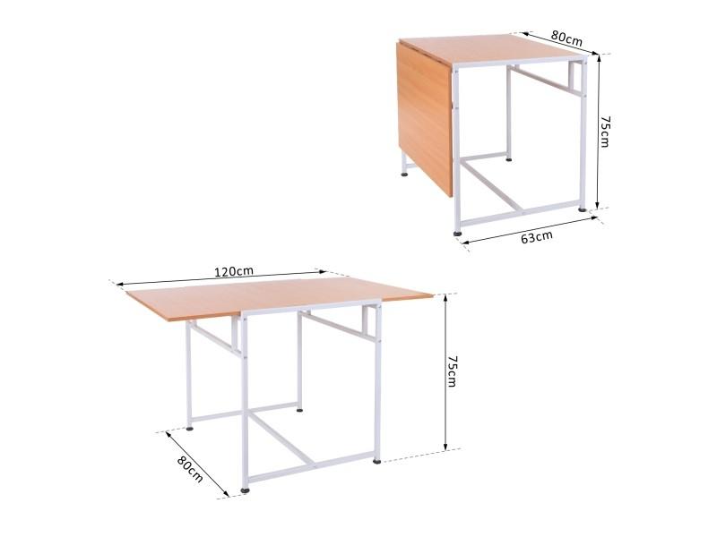 Bureau Table Rmatique Pliable 120L X 80Lx 75H Cm 2 ... intérieur Bureau Pliable Conforama