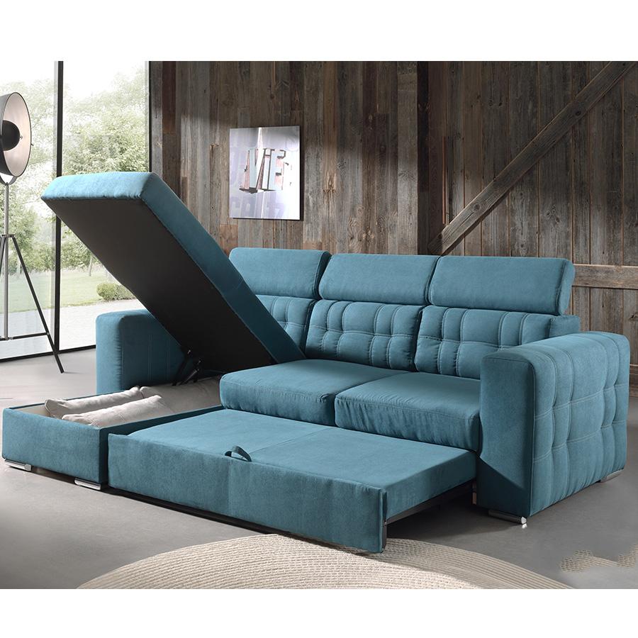 Canapé Angle Convertible Bleu En Tissu   Kasalinea destiné Canapé Relax Convertible