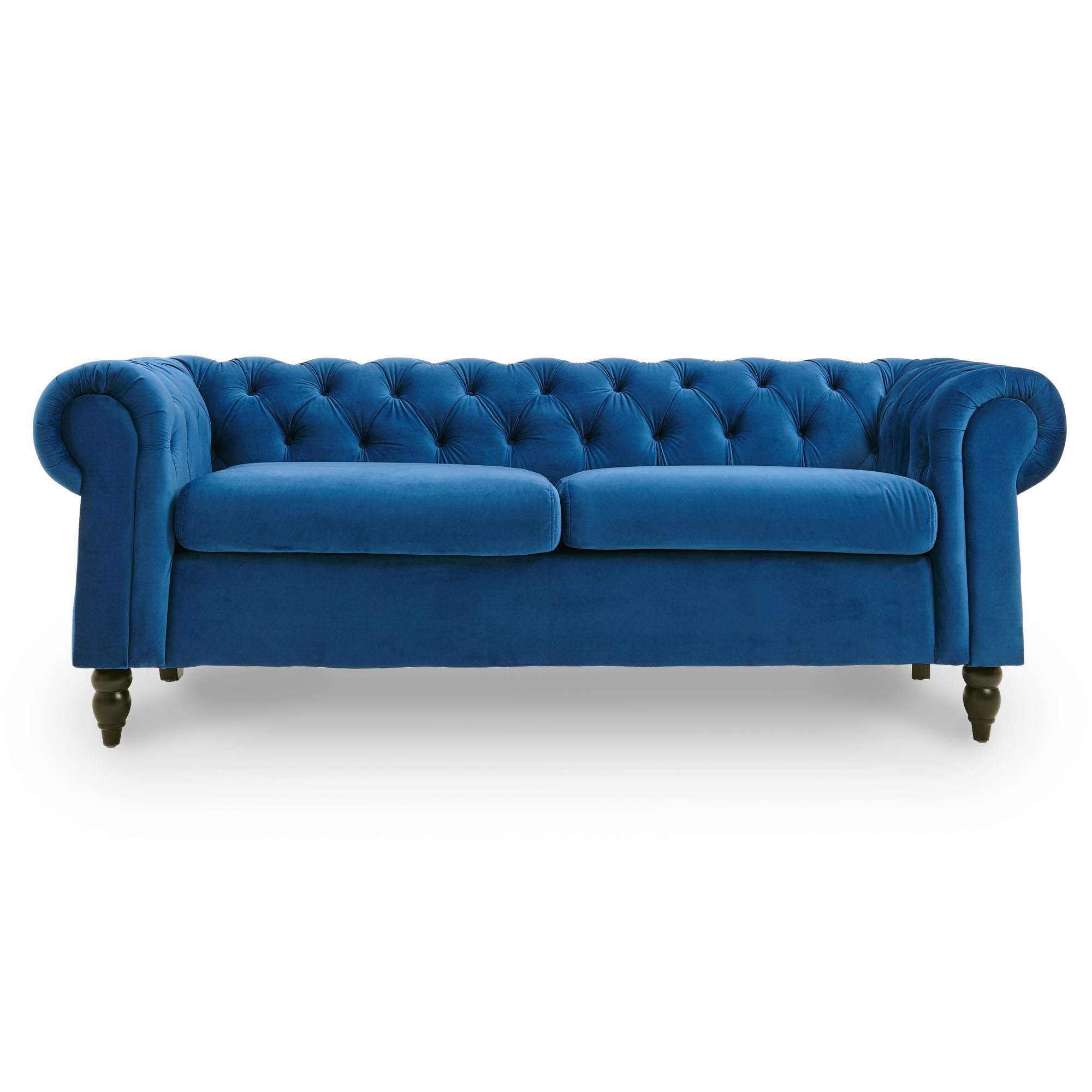Canape Chesterfield 3 Places En Velours Bleu Winston - Dip dedans Canape Winston But
