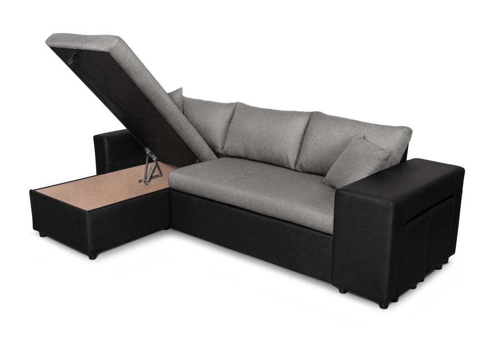 Canapé D'Angle Convertible En Lit Avec Poufs Oslo Gris/Noir serapportantà Canapé Oslo But