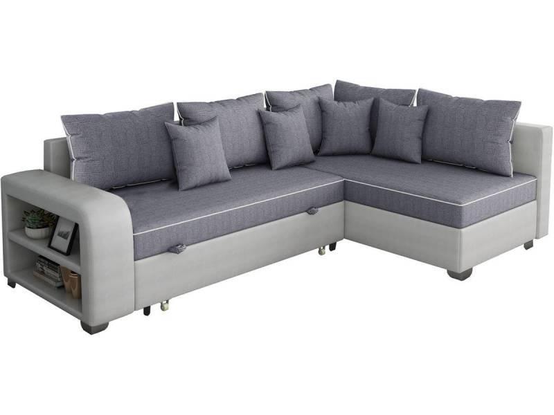 """Canapé D'Angle Convertible """"Gregory"""" - 4 Places - Gris ... intérieur Canape Premium Confort Gris Angle Droit"""