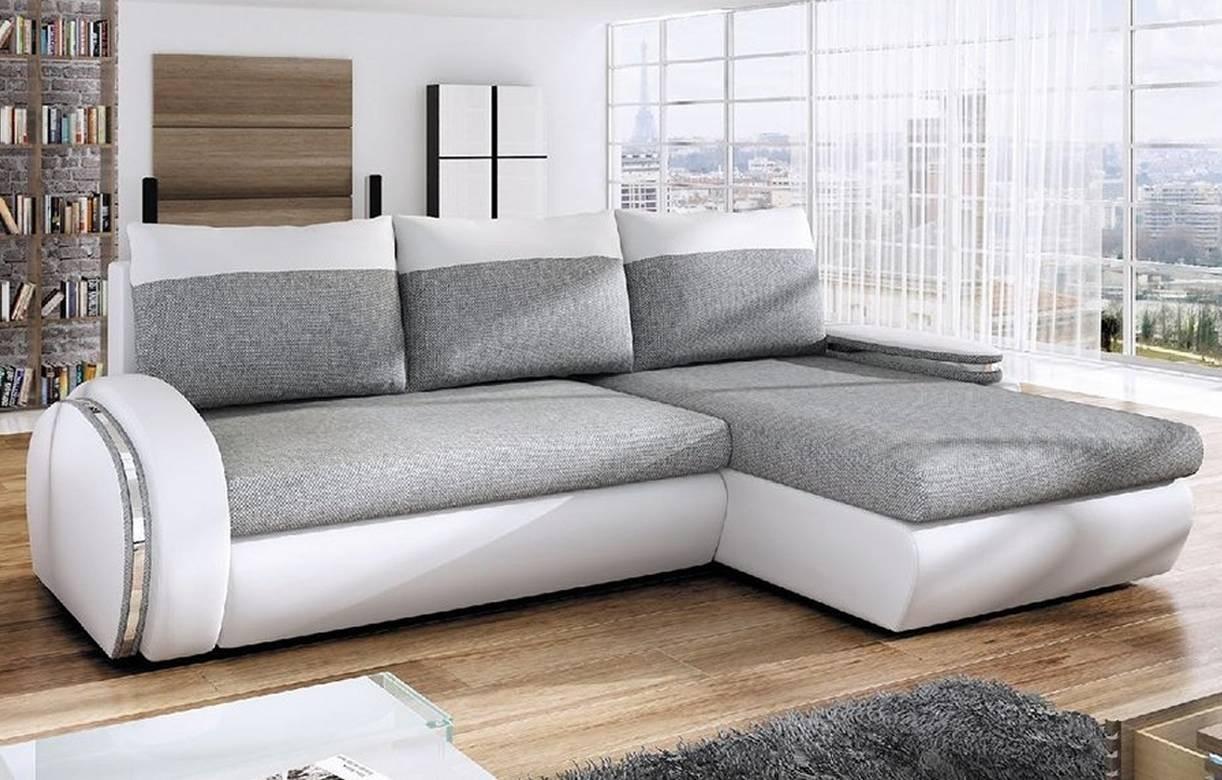 Canapé D'Angle Convertible Gris Et Blanc En Tissu Et ... à Canapé Relax Et Convertible