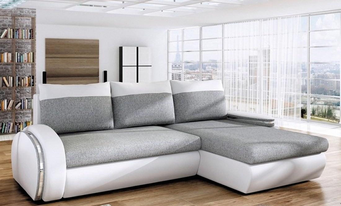 """Canapé D'Angle Convertible Tissu Et Simili Gris Et Blanc ... intérieur Gris/Blanc"""""""