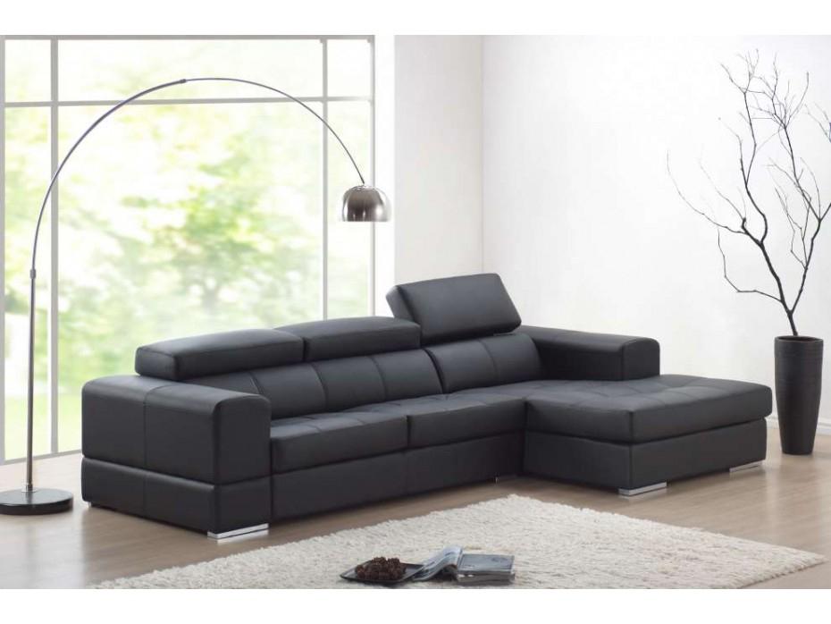 Canapé D'Angle Cuir Xxl Noir Angle Droit Baldini Ii avec Canapé D'Angle Cuir Ikea