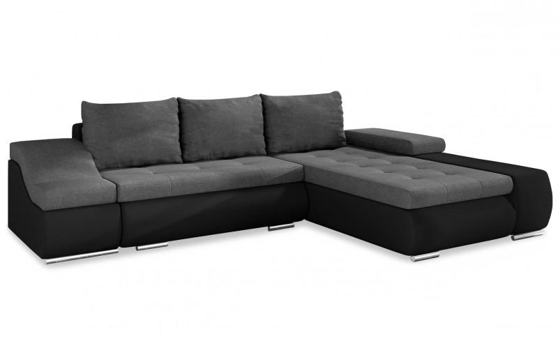 Canapé D'Angle Droit Convertible Similicuir Noir Et Tissu ... tout Canape Premium Confort Gris Angle Droit