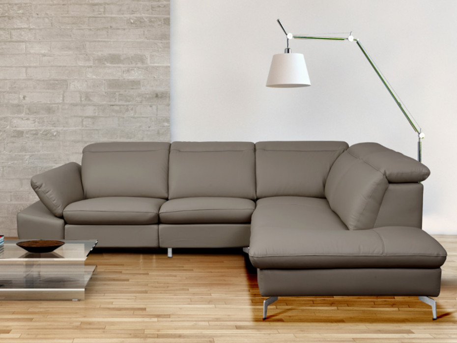 Canapé D'Angle Droit Cuir Relax Électrique Taupe Gladstone encequiconcerne Canapé D'Angle Cuir Ikea