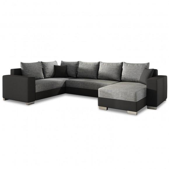 Canapé D'Angle Droit Panoramique Octave Gris Et Noir avec Canape Premium Confort Gris Angle Droit
